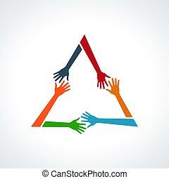 multirazziale, triangle., umano, vettore, mani