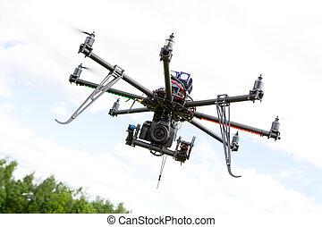 multirotor, fotografía, helicóptero