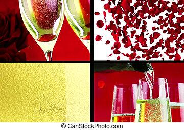 multiscreen, 場景, 由于, 傾瀉, 飲料, 以及, 特寫鏡頭, 香檳酒, 在, the, 長笛, 由于, 氣泡, 由于, 紅色, 花瓣, 玫瑰, 飛行, 上, 紅色, bokeh, 背景, 愛, 以及, 情人節, 天