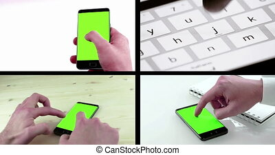 multiscreen scene with man hands using a smart phone for write text messaging with chroma key and close-up of virtual keyboard of smartphone,
