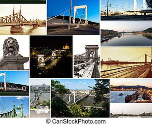multishot collage of of Budapest bridges