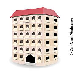 multistoried, mieszkaniowy, dom, odizolowany, na białym, tło