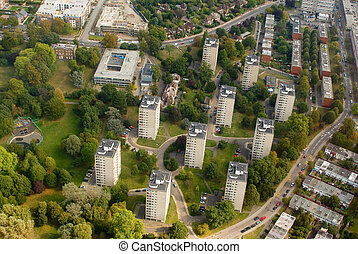 Residential block of the multistory buildings near London, UK
