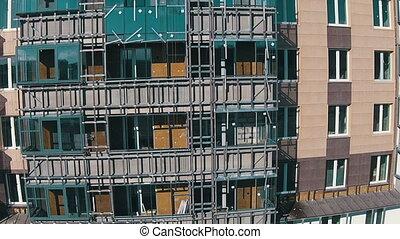 multistory, résidentiel, ascendant, vol, quarts