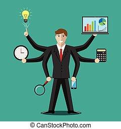 multitáreas, hombre de negocios, director, o