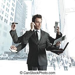 multitáreas, hombre de negocios