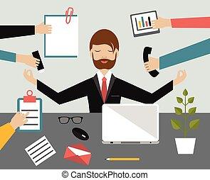 multitáreas, illustration., concept., oficina., meditación, trabajo, loto, plano, posición, hombre de negocios