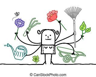 multitáreas, muchos brazos, jardinero, caricatura
