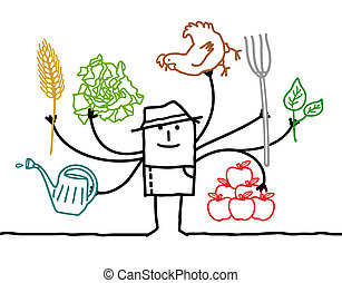 multitáreas, muchos, caricatura, brazos, granjero