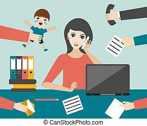 multitáreas, mujer, oficina., ocupado, vector., plano, ...