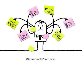 multitáreas, notas, hombre, caricatura, pegajoso