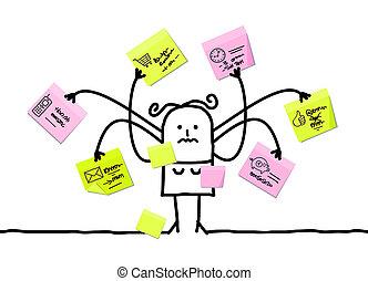 multitáreas, notas, mujer, caricatura, pegajoso