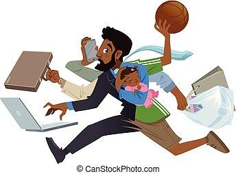 multitáreas, padre, bebé, negro, trabajo, entre, hombre, ocupado