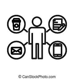 multitáreas, problema, diseño, ilustración