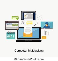 multitâche, concept, informatique, illustration.