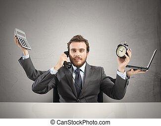 multitâche, homme affaires