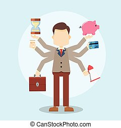 multitâche, homme affaires, techniques