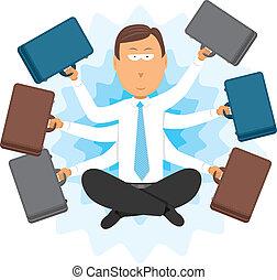 multitâche, homme affaires, zen