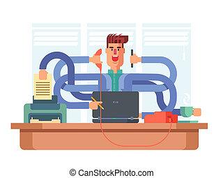 multitâche, ouvrier, bureau, homme