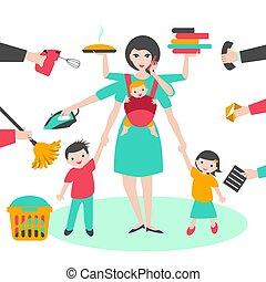 multitask, woman., mère, femme affaires, à, enfants, et,...