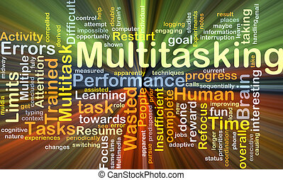 Multitasking background concept glowing