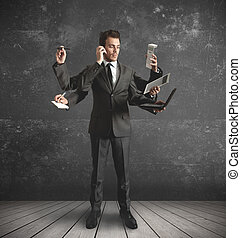 Multitasking businessman - businessman stressed by too many ...