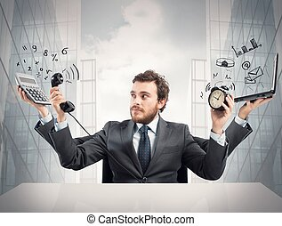 Multitasking businessman - Concept of busy multitasking ...