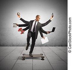 Multitasking businessman - Multitasking concept with...