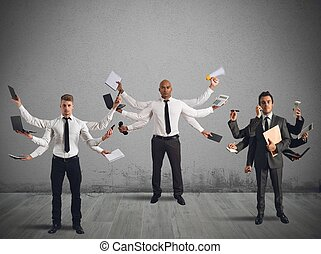 Businessperson that to solve problems become multitasking