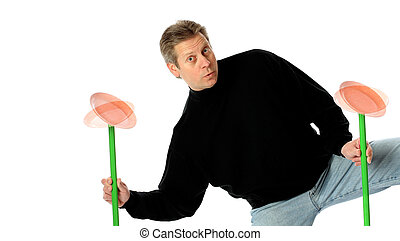 Multitasking by a Man Juggling Spinning Plates - ...