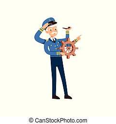 Multitasking captain character behind the wheel, sailor in blue uniform with many hands smoking pipe vector Illustration on a white background