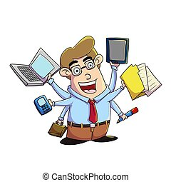 multitasking - illustration of a businessman multitasking