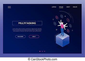 Multitasking concept - modern isometric vector website header