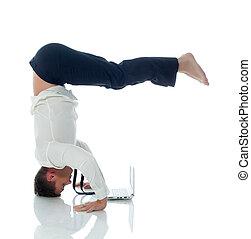 ??multitasking, -, concept, yoga, homme affaires