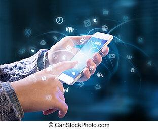 multitasking, em, mãos