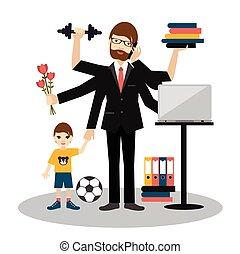 multitasking, esercizio, worker., babbo, figlio, marito, uomo, chiamata, romantico, lavorativo, papà, gym., uomo, padre, uomo affari, occupato, giovane