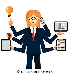 multitasking, executiva, caricatura, apartamento, vetorial, ilustração, conceito, ligado, isolado, fundo branco