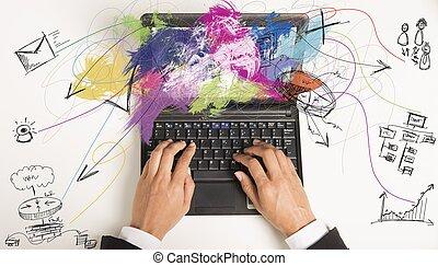 Multitasking, executiva, trabalho