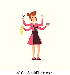 Multitasking female hairdresser character, young woman with many hands and hairdressers tools vector Illustration on a white background