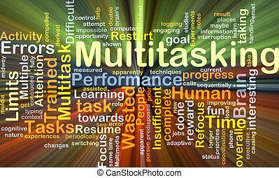 multitasking, fundo, conceito, glowing