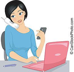 Multitasking Girl - Illustration of a Girl Typing on Her ...
