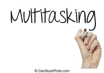 multitasking, hand schreiben