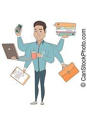 multitasking., hispano, hombre de negocios, mojinete