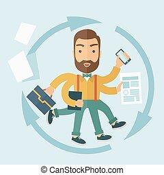 multitasking., hombre, capaz
