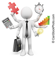 multitasking, homem negócios, branca, pessoas., 3d