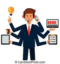 multitasking, homem negócios, caricatura, apartamento, vetorial, ilustração, conceito, ligado, isolado, fundo branco