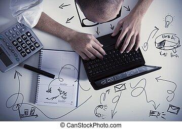 multitasking, homem negócios, no trabalho
