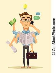 Multitasking man. Vector flat cartoon illustration