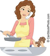 Illustration of a Mother Handling Multiple Tasks at the Same Time