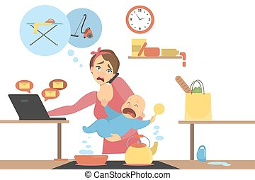multitasking, mother., isolerat
